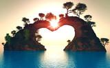 soleil sur montagne coeur 2 - 164156570