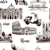 Rome sightseeing seamless pattern set: Coliseum, St. Peter Cathedral, wolf, romulus, scooter etc drawn vector sketch illustration.