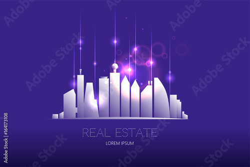 Foto op Canvas Violet City graphic composition with light effect design