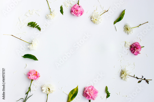 flat lay frame with flowers Poster