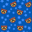 Cute vector owl and stars seamless pattern. - 164176508