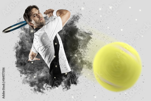 Plexiglas Tennis Tennis Player coming out of a blast of smoke .