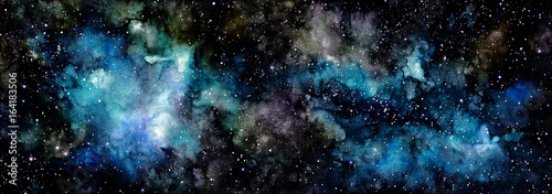 Watercolor Light Blue Galaxy and Deep Space