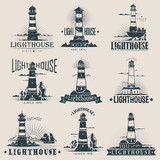 Isolated lighthouse on sea or ocean sketches