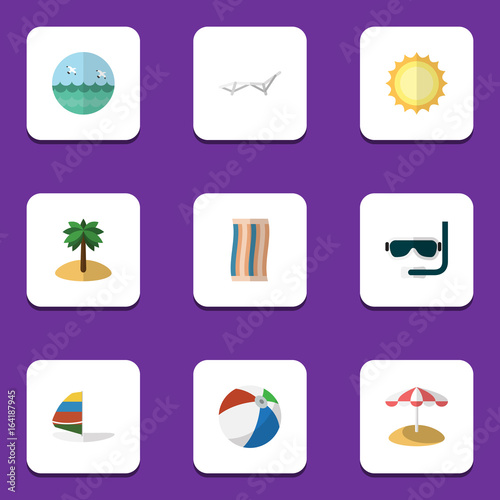 Fotobehang Snoeien Flat Icon Season Set Of Surfing, Coconut, Sunshine And Other Vector Objects. Also Includes Aqualung, Swimmer, Umbrella Elements.