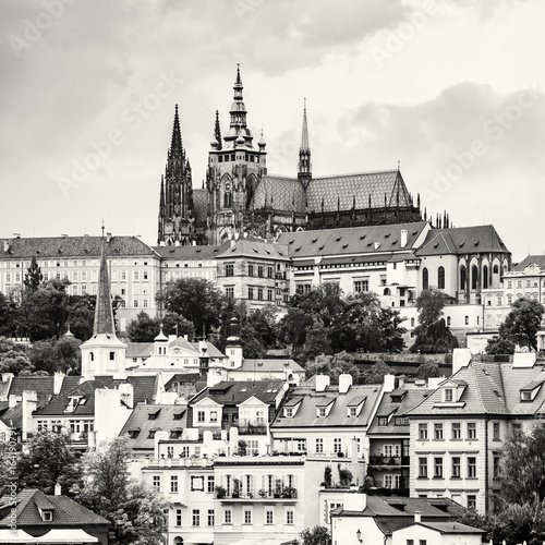 Poster Beautiful castle in Prague, Czech republic, colorless