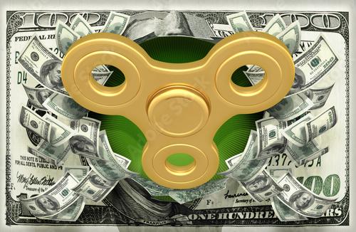 Fidget Spinner Bursting Out Of Money 3D Illustration