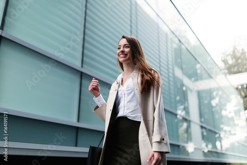 Plakát Professional beautiful and attractive young businesswoman posing