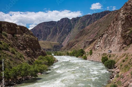 Mountain river landscape. Kyrgyzstan. Kekemeren River