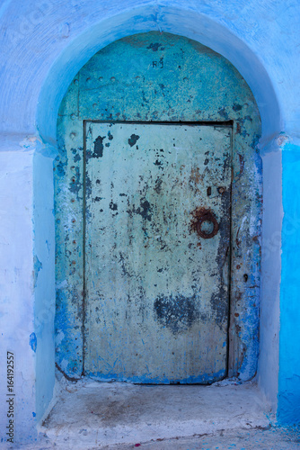 front door in blue town chefchaouen, morocco