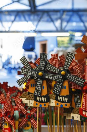 Souvenirs. Amsterdam walk. Flowers market. wooden windmill souvenir from Amsterdam