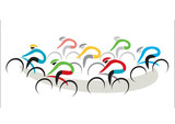 Road Cycling Competition. Stylized drawing of cycling race, isolated on the white background. Vector available.