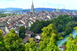 Beautiful Swiss Architecture Traditional Houses With its cathedral, Photo from park on City of Bern, Switzerland, Europe - 164202956