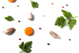 Parsley leave with garlic, carrot and colored peppercorns isolated on white - 164203373