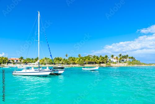 Spoed canvasdoek 2cm dik Turkoois Akumal beach - paradise bay at turtle beach in Quintana Roo, Mexico - caribbean coast