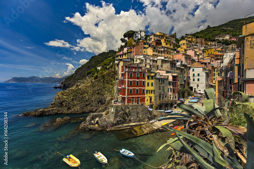 Poster Liguria Italy. Cinque Terre (UNESCO World Heritage Site since 1997). Riomaggiore village (Liguria region)