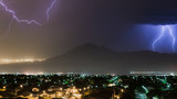 Lightning and rain storm over east Henderson and Las Vegas, NV