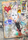 Esoteric graffiti and manuscipts with collages,symbols,draws and scraps - 164235574