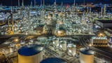Aerial view oil refinery, refinery plant, refinery factory