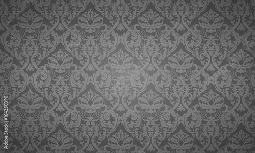 Seamless Damask wallpaper - dark - 164250390