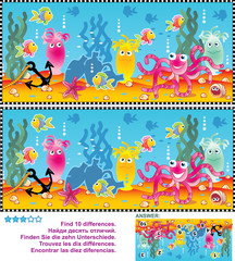 Underwater themed picture puzzle: Find the ten differences between the two pictures. Answer included.