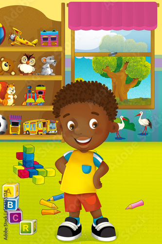 Cartoon scene with happy and funny child and wardrobe full of toys - scene for different usage - 164255174