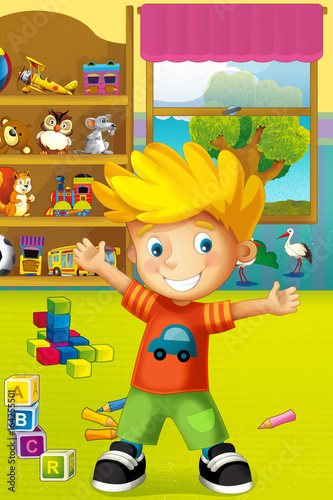 Cartoon scene with happy and funny child and wardrobe full of toys - scene for different usage - 164255501