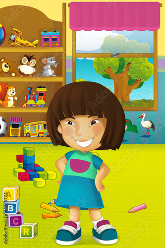 Cartoon scene with happy and funny child and wardrobe full of toys - scene for different usage - 164255774