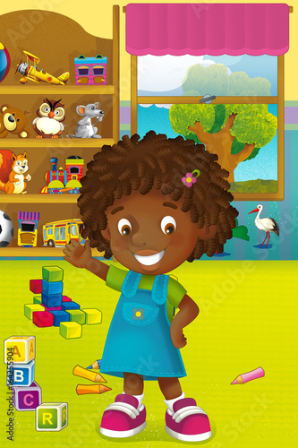 Cartoon scene with happy and funny child and wardrobe full of toys - scene for different usage - 164255904