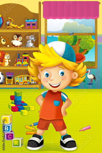 Cartoon scene with happy and funny child and wardrobe full of toys - scene for different usage - 164256185