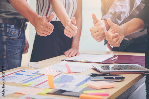 Business People Meeting Design Ideas Concept. business planning and show thumbs up