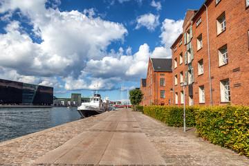 A beautiful city landscape, the channel embankment in Copenhagen Denmark