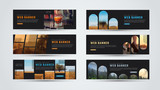 set of black horizontal web banners of standard size with different geometric elements - 164262701
