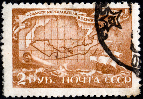 Poster UKRAINE - CIRCA 2017: A postage stamp printed in USSR shows Death Bicentenary of Vitus Bering