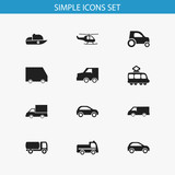 Set Of 12 Editable Transportation Icons. Includes Symbols Such As Automobile, Streetcar, Hatchback And More. Can Be Used For Web, Mobile, UI And Infographic Design.