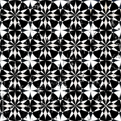 circle pattern background, retro/vintage style, grungy, black and white, seamless