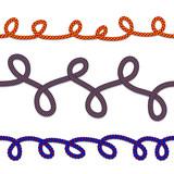 Horizontal seamless  rope  pattern, vector rope brushes