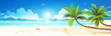 Summer holidays on tropical beach. Vector