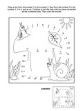 Big mushroom, mother and baby snails connect the dots picture puzzle and coloring page. Answer included.
