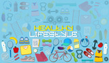 Concept of a healthy lifestyle and various items for diet and sports