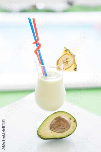 Fresh smoothie  from avocados, bananas and pineapples