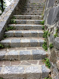 an old stone staircase leading up