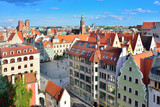 Aerial view of a Market Square in Wroclaw, Poland