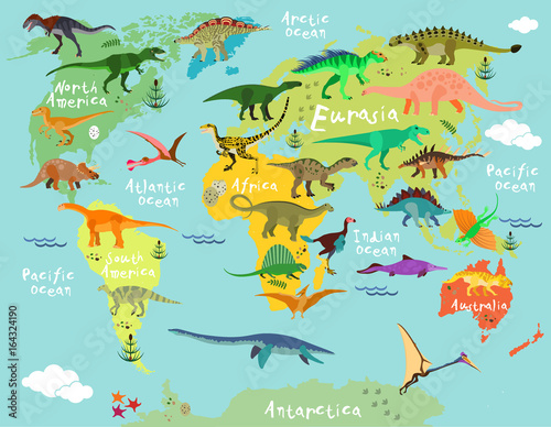 Dinosaurs map of the world - 164324190
