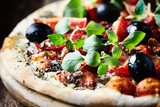 Pizza with Ham and Cherry Tomatoes - 164328778