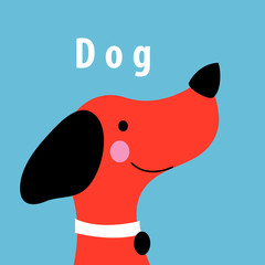Graphics vector portrait of a red dog