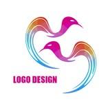 Modern bright colored triangular bird logo isolated on white background