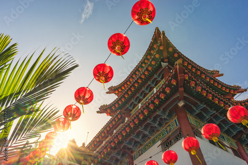 Tower of one of the many at Thean Hou Temple, which is one of the oldest and largest temples in Kuala Lumpur, Malaysia.