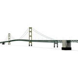 Mackinac Bridge Isolated on white. 3D illustration