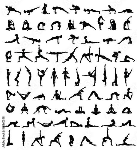 Fototapeta Women silhouettes. Collection of yoga poses. Asana set.
